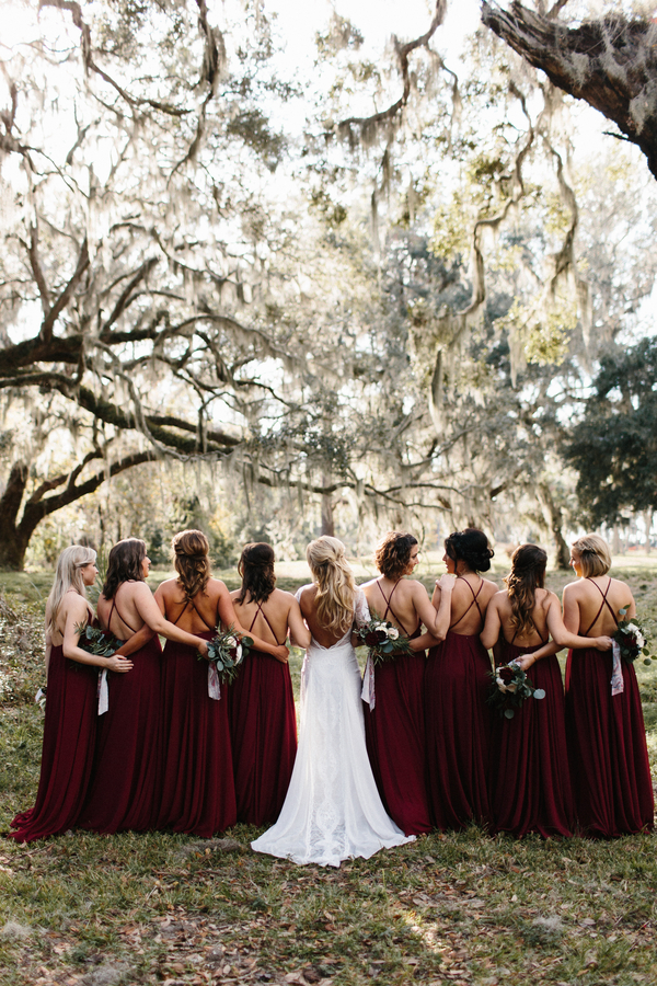 Cranberry bridesmaids dresses // King & Prince Resort wedding on Saint Simons Island, Georgia // A Lowcountry Wedding Magazine & Blog