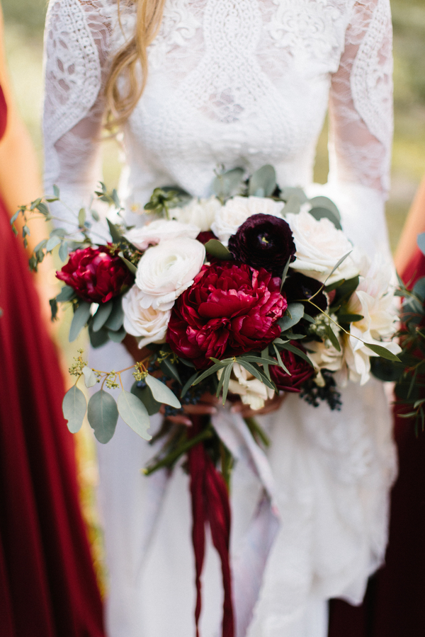 Deep red peony and ranunculus bouquet from Gertie Mae's Floral  //  Saint Simons Wedding Photography  //  A Lowcountry Wedding Magazine & Blog