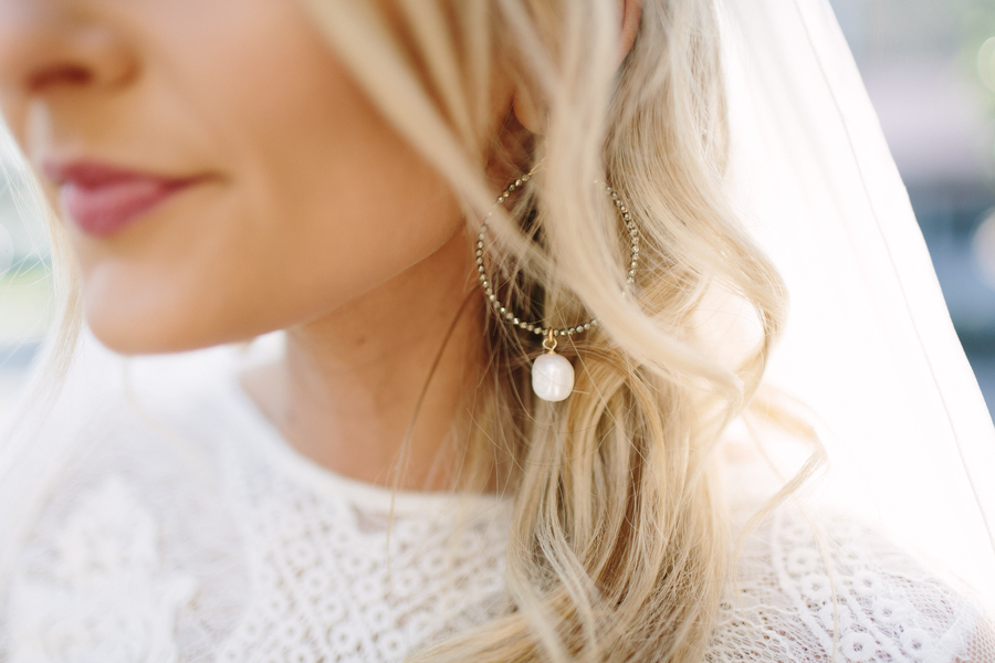 Brides' hoop earrings at Winter wedding  //  Saint Simons Island, Georgia wedding venue  // A Lowcountry Wedding Magazine & Blog