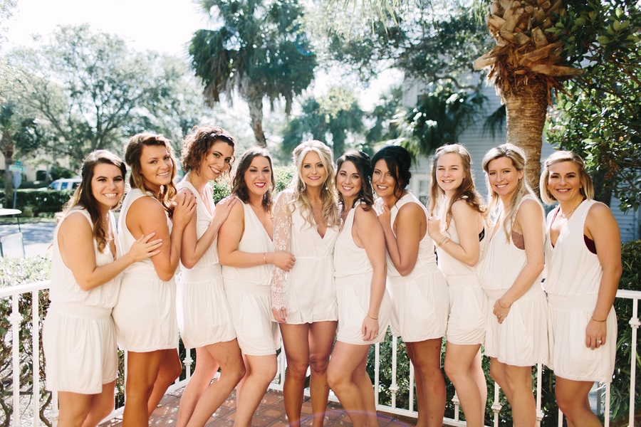 Bridesmaids prepping for King & Price Resort wedding on Saint Simons Island, Georgia