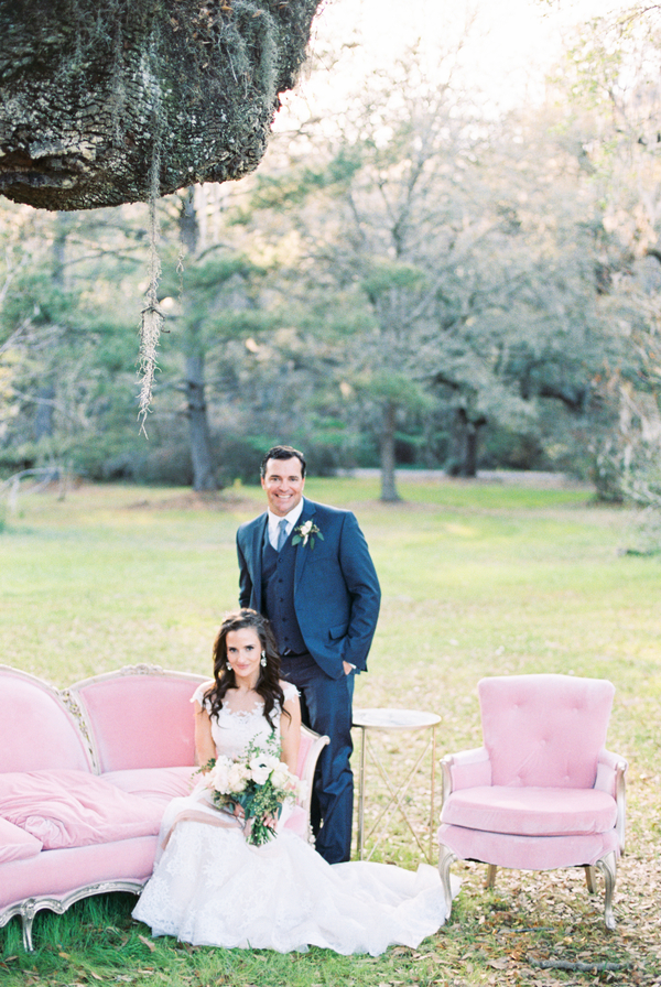 Vintage pink sofa and chair from 428 Main //  Romantic Elopement at Magnolia Plantation & Gardens in Charleston, South Carolina // on A Lowcountry Wedding Magazine & Blog