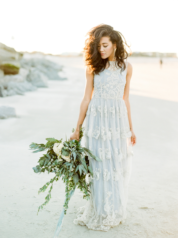 Blue Leanne Marshall Bridal gown with lace overlay  //  Savannah wedding photos by Dee Carlin Photography  //  on A Lowcountry Wedding Magazine & Blog