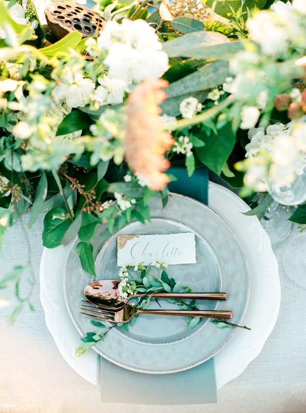 Coastal place setting for intimate elopement  //  Savannah wedding photos by Dee Carlin Photography  //  on A Lowcountry Wedding Magazine & Blog