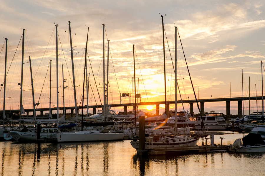 Charleston City Marina in South Carolina at sunset  //  Charleston wedding photography by Jeanne Mitchum Photography // on A Lowcountry Wedding Magazine & Blog