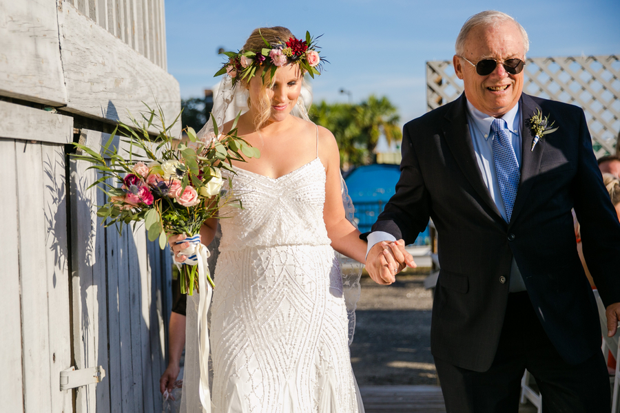 Father walking the bride down the aisle at Charleston Yacht Club wedding //  Charleston wedding photography by Jeanne Mitchum Photography // on A Lowcountry Wedding Magazine & Blog