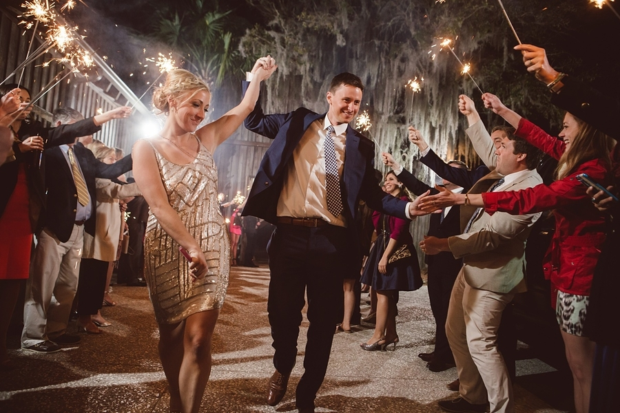 Sparkler exit at The Cotton Dock  //  Charleston wedding photos by amelia + dan photography  //  A Lowcountry Wedding Magazine & Blog