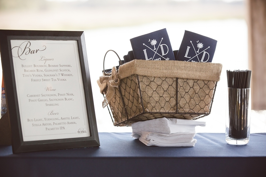 Wedding bar menu and navy koozies at The Cotton Dock  //  Charleston wedding photos by amelia + dan photography  //  A Lowcountry Wedding Magazine & Blog