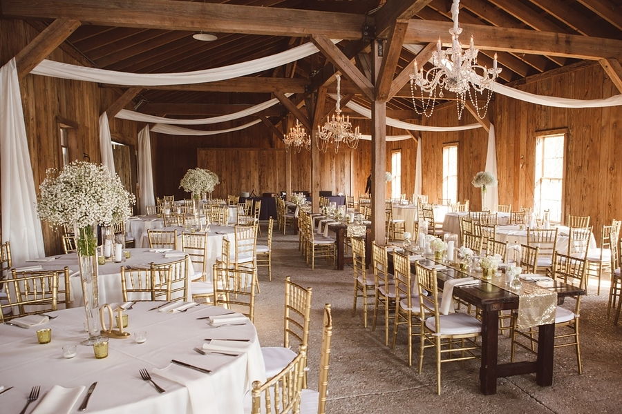 Gold and white reception setup at The Cotton Dock at Boone Hall Plantation //  Charleston wedding photos by amelia + dan photography  //  A Lowcountry Wedding Magazine & Blog
