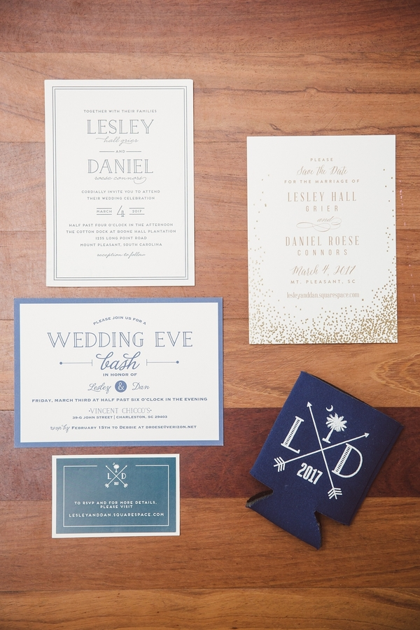 Navy and white invitation suite //  Charleston wedding photos by amelia + dan photography  //  A Lowcountry Wedding Magazine & Blog