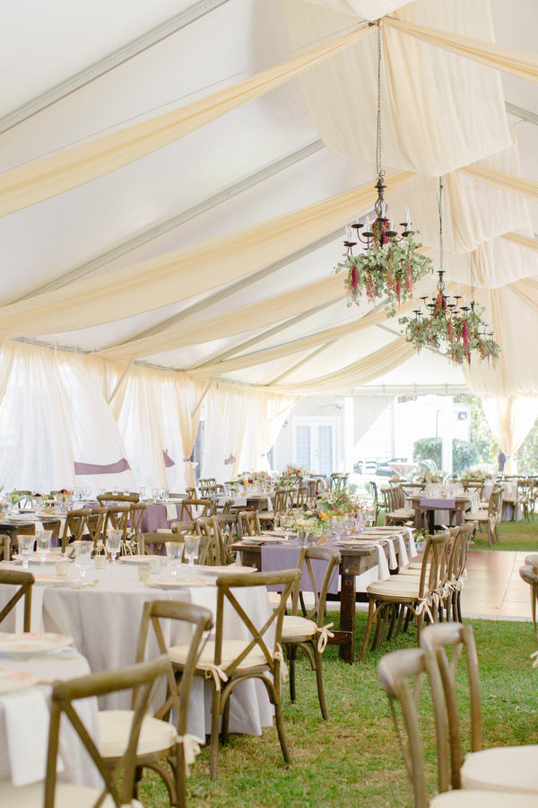 Tented reception with floral chandeliers at Oak Point Plantation wedding  //  Charleston wedding photographer Riverland Studios  //  A Lowcountry Wedding Magazine & Blog
