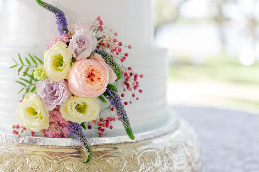 four-tiered wedding cake by Sablee at Oak Point Plantation on Johns Island, SC  //  Charleston wedding photographer Riverland Studios  //  A Lowcountry Wedding Magazine & Blog