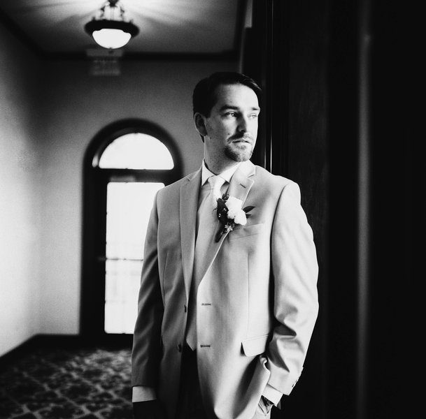Black and white picture of groom  //  Myrtle Beach wedding photos by Gillian Claire Photography  //  A Lowcountry Wedding Magazine & Blog