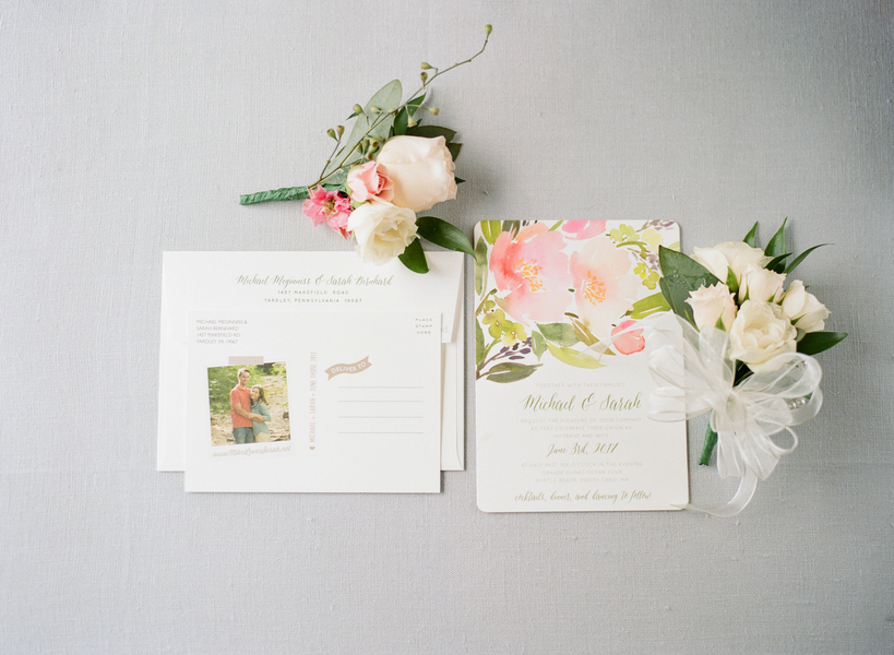 Floral invitation suite from Minted  //  Myrtle Beach wedding photos by Gillian Claire Photography  //  A Lowcountry Wedding Magazine & Blog