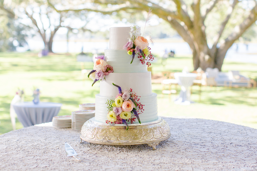 Four-tied cake with floral accents on Johns Island, SC  //  Charleston wedding photographer Riverland Studios  //  A Lowcountry Wedding Magazine & Blog