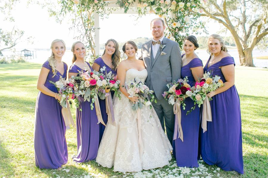 Bridesmaids in long, blue off-the-shoulder dresses at Oak Point Plantation wedding  //  Charleston wedding photographer Riverland Studios  //  A Lowcountry Wedding Magazine & Blog