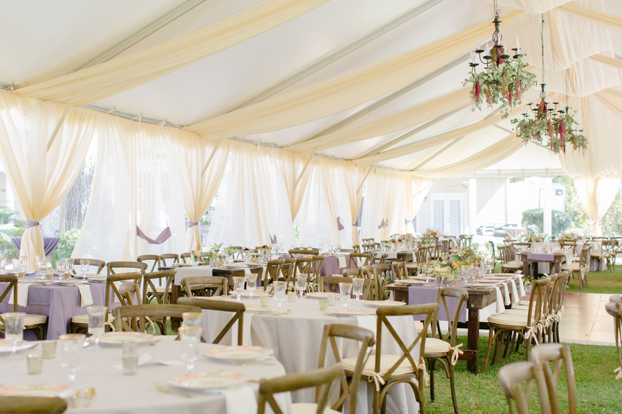 Tented reception at Oak Point Plantation with floral chandeliers  //  Charleston wedding photographer Riverland Studios  //  A Lowcountry Wedding Magazine & Blog