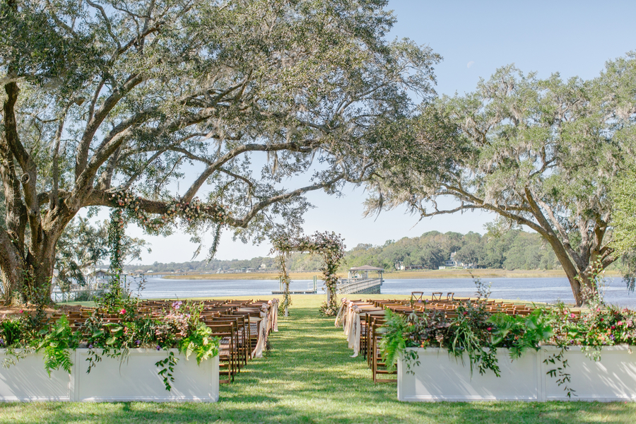 Outdoor ceremony setup at Oak Point Plantation  //  A Lowcountry Wedding Magazine & Blog