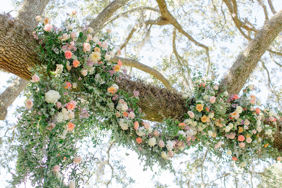 Floral tree adornments by Suzanne's Floral Studio at Oak Point Plantation  //  A Lowcountry Wedding Magazine & Blog