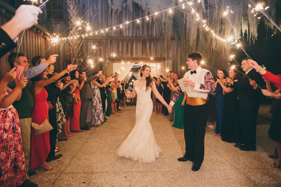 Sparkler exit at The Cotton Dock  //  Charleston wedding photos by Richard Bell Photography  //  A Lowcountry Wedding Magazine & Blog