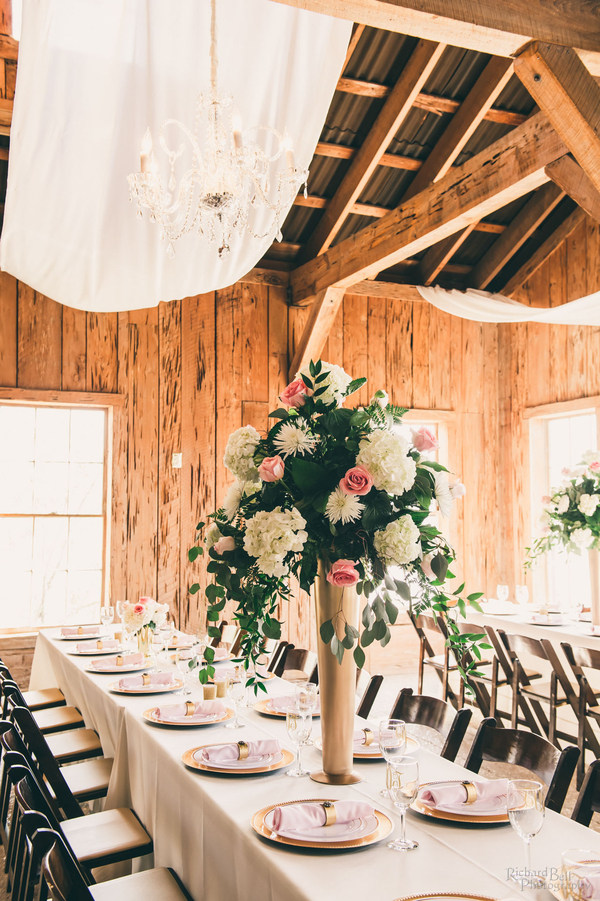 Gold, white and pink reception decor at The Cotton Dock designed by Posh Petals & Pearls //  A Lowcountry Wedding Magazine & Blog