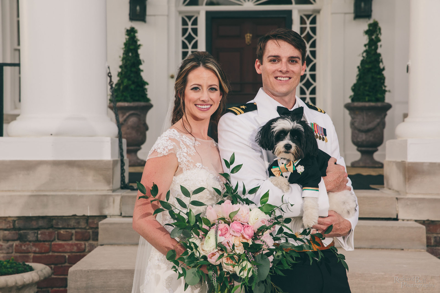 Bride and groom portraits at Boone Hall Plantation with their dog //  A Lowcountry Wedding Magazine & Blog
