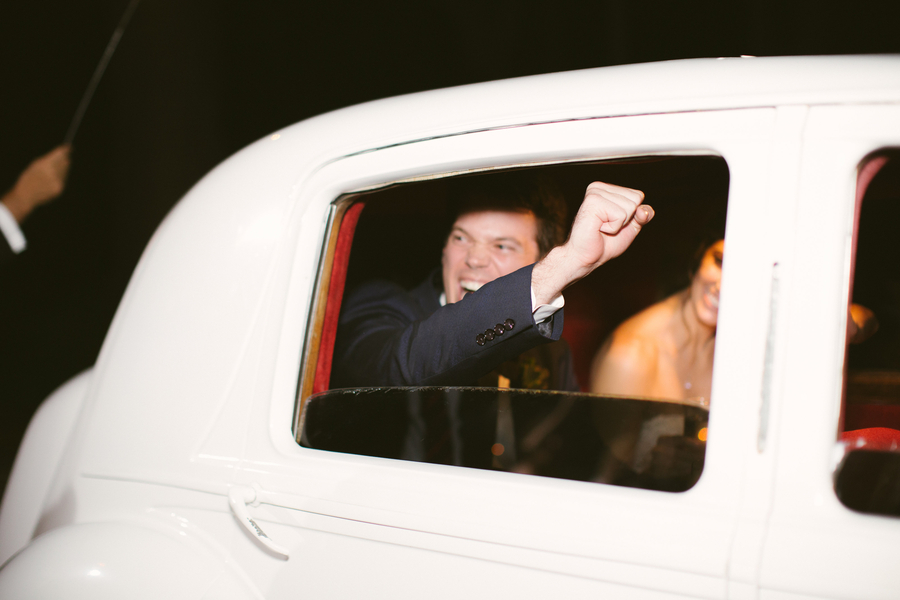 White vintage Rolls Royce getaway car  //  Hilton Head wedding photos by Christi Clark Photography  //  A Lowcountry Wedding Magazine & Blog