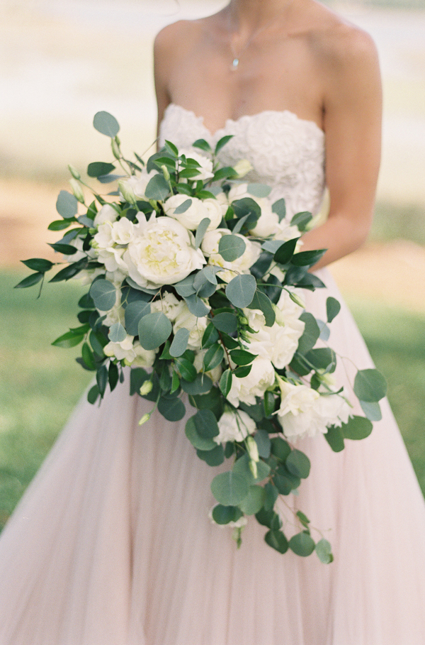 White peony, rose and eucalyptus bouquet by A Floral Affair  //  Hilton Head wedding photos by Christi Clark Photography  //  A Lowcountry Wedding Magazine & Blog
