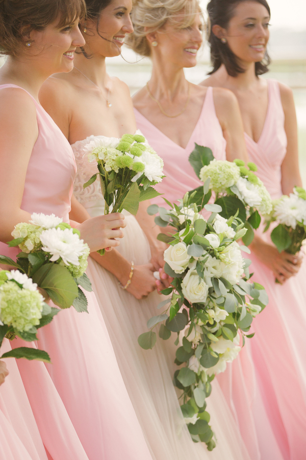 Bridesmaids wearing soft pink Alfred Angelo dresses  //  Hilton Head wedding photos by Christi Clark Photography  //  A Lowcountry Wedding Magazine & Blog