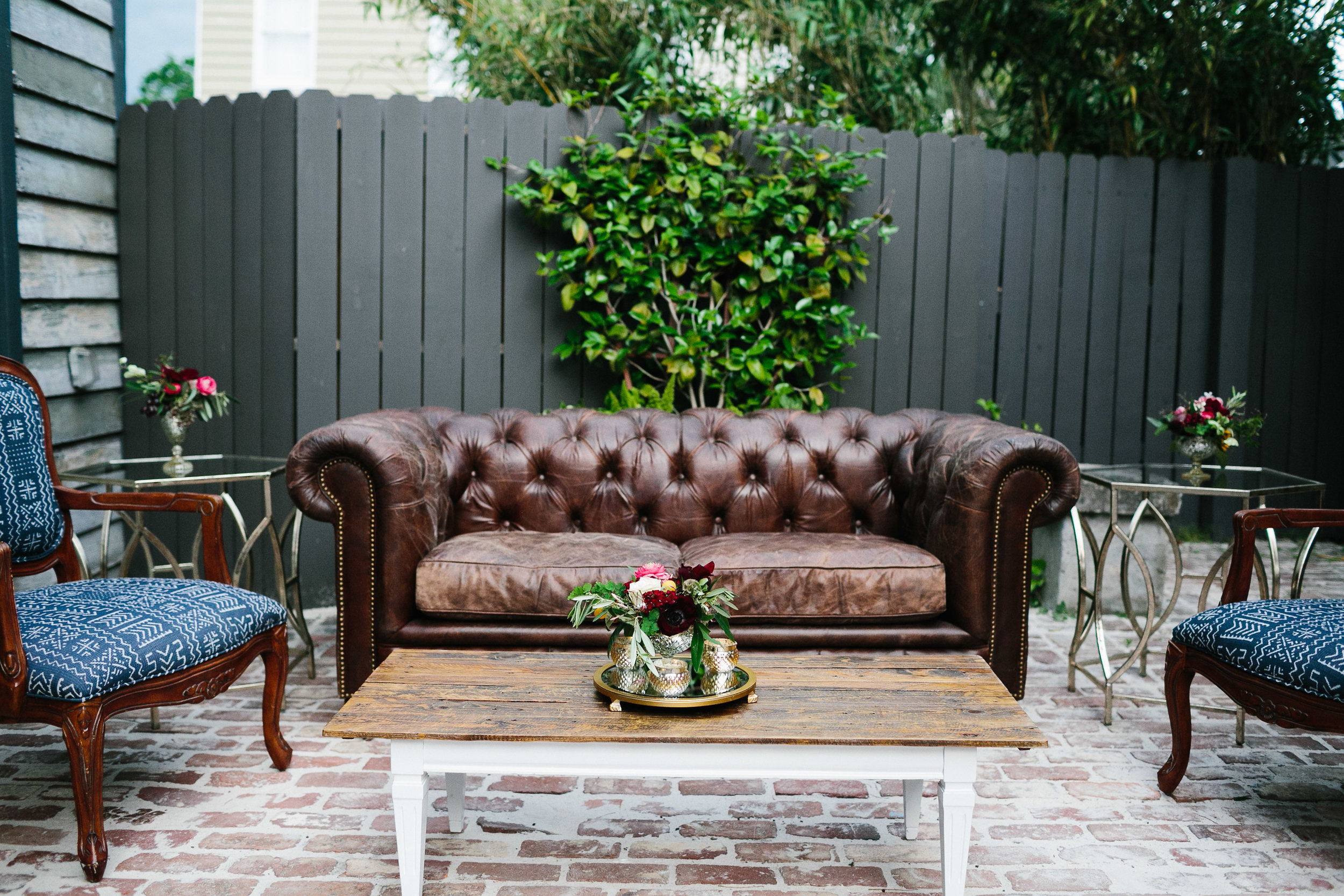 Leather sofa and denim lounge furniture from The French Eclectic  //  Charleston photos by Elizabeth Ervin  //  A Lowcountry Wedding Magazine & Blog