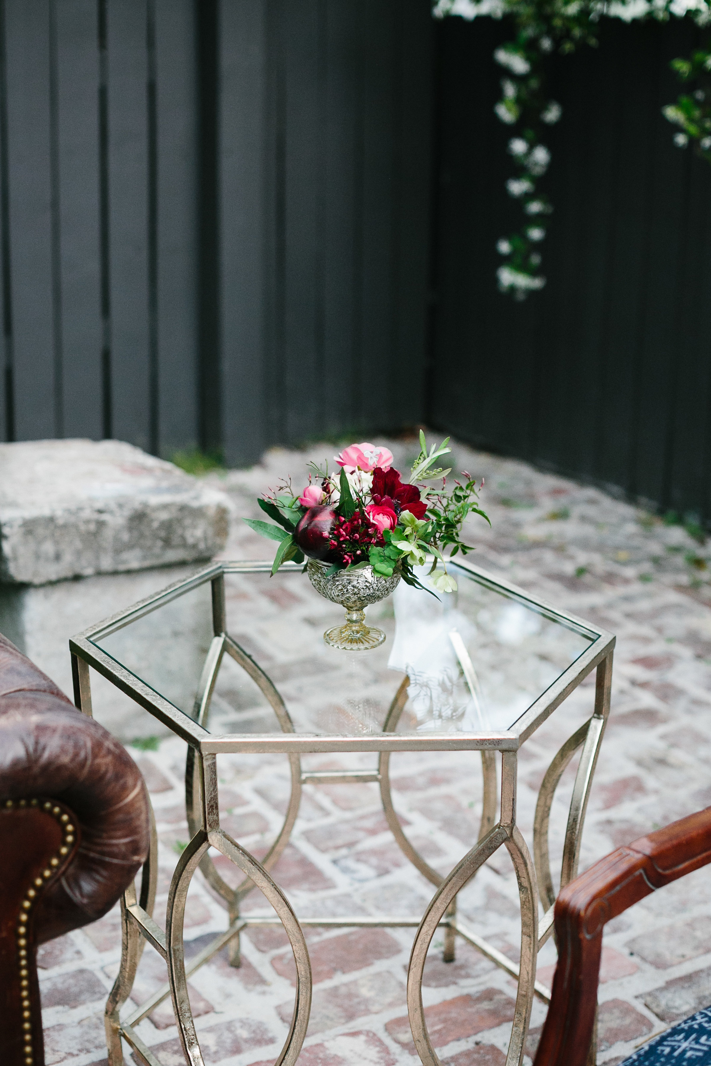 Gold end table from The French Eclectic at Leon's Oyster Shed  //  Charleston photos by Elizabeth Ervin  //  A Lowcountry Wedding Magazine & Blog