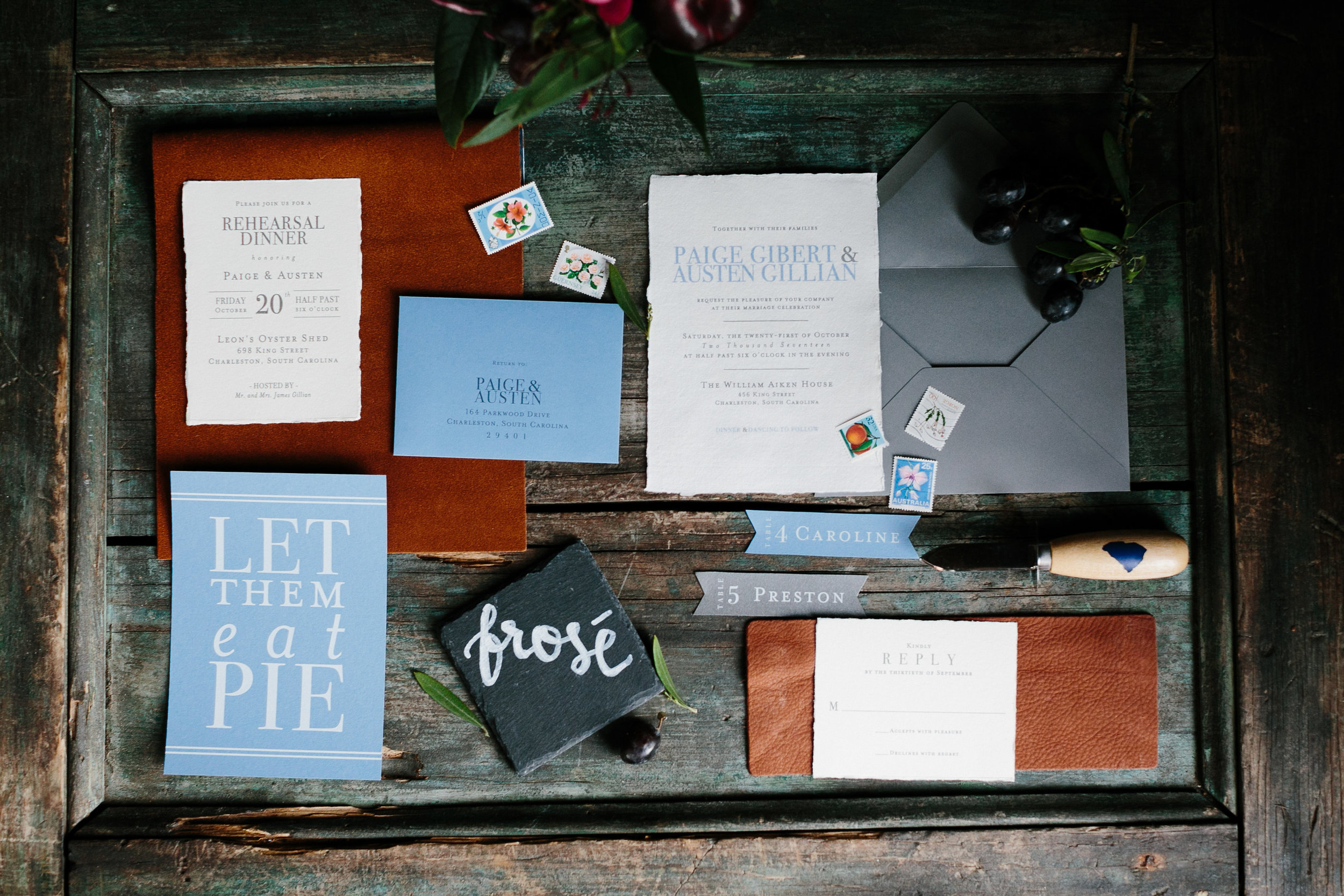 Rehearsal dinner invitation suite with leather and slate by The Silver Starfish  //  Charleston photos by Elizabeth Ervin  //  A Lowcountry Wedding Magazine & Blog