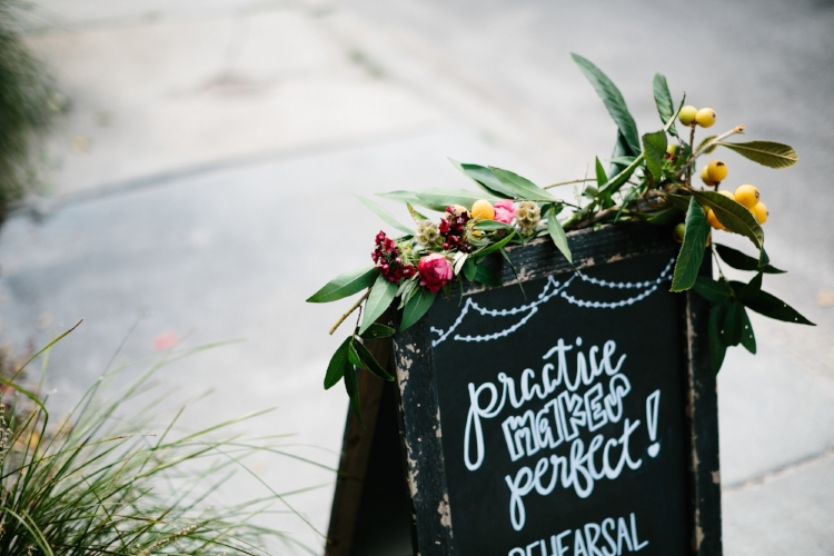 Practice makes perfect Rehearsal dinner sign at Leon's Oyster Shed by The Silver Starfish  //  Charleston photos by Elizabeth Ervin  //  A Lowcountry Wedding Magazine & Blog
