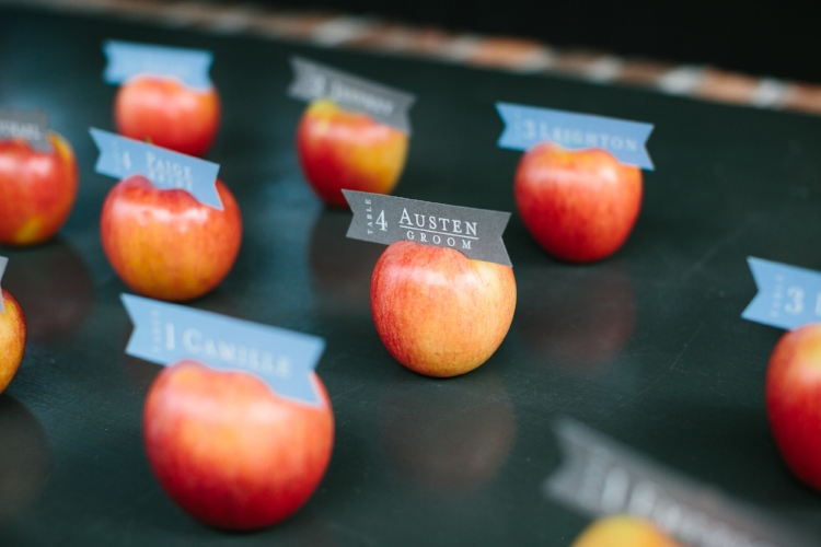 Apple escort cards at Leon's Oyster Shed Rehearsal Dinner by The Silver Starfish  //  Charleston photos by Elizabeth Ervin  //  A Lowcountry Wedding Magazine & Blog