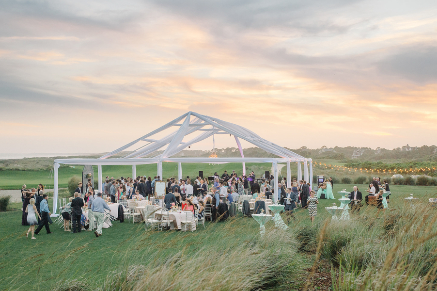 Open-air wedding reception on the lawn at The Ocean Course in Kiawah Island, SC  //  Charleston wedding photos by Aaron and Jillian