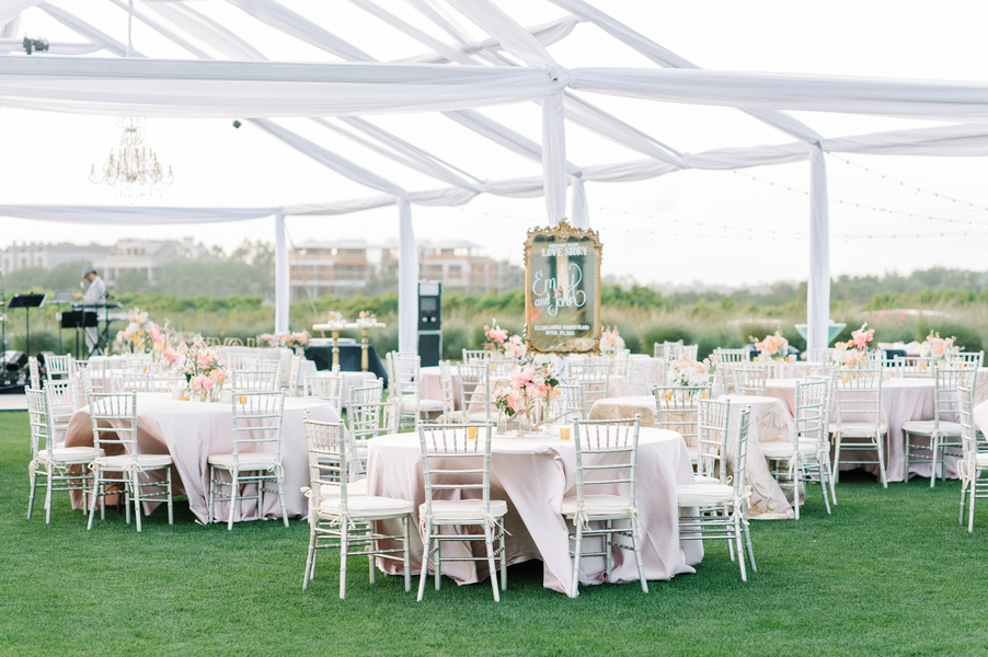 Kiawah Island wedding reception decor at The Ocean Course  //  Designed by Intrigue Design & Events