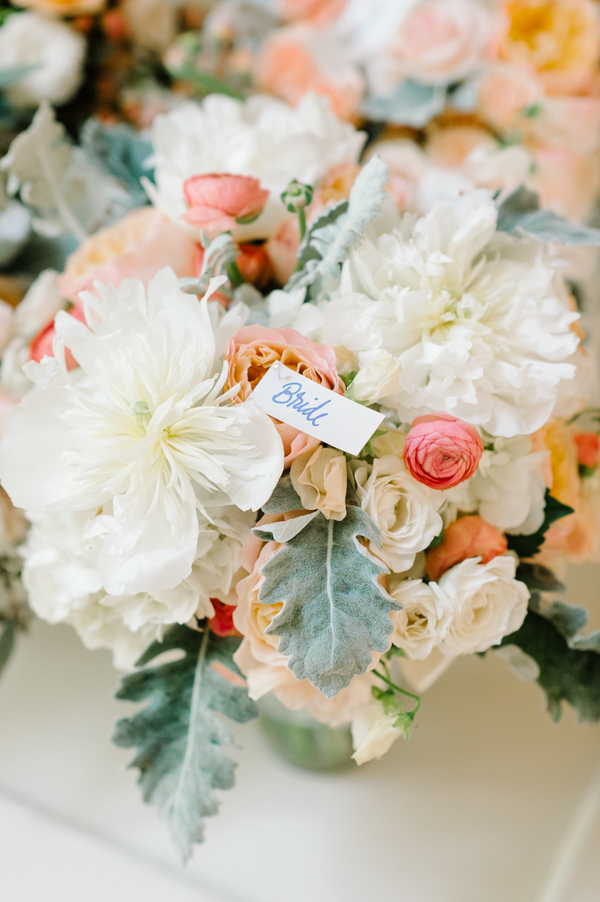 White peonies, peach roses and ranunculus bouquets by Branch Design Studio  //  A Lowcountry Wedding Magazine