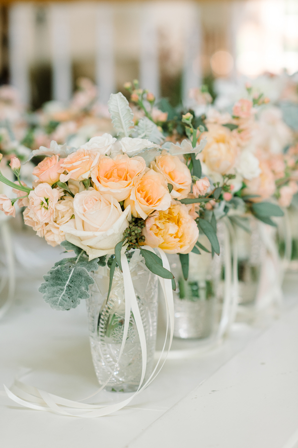 Peach rose bouquets for wedding at Kiawah Island SC  // Charleston florist Branch Design Studio