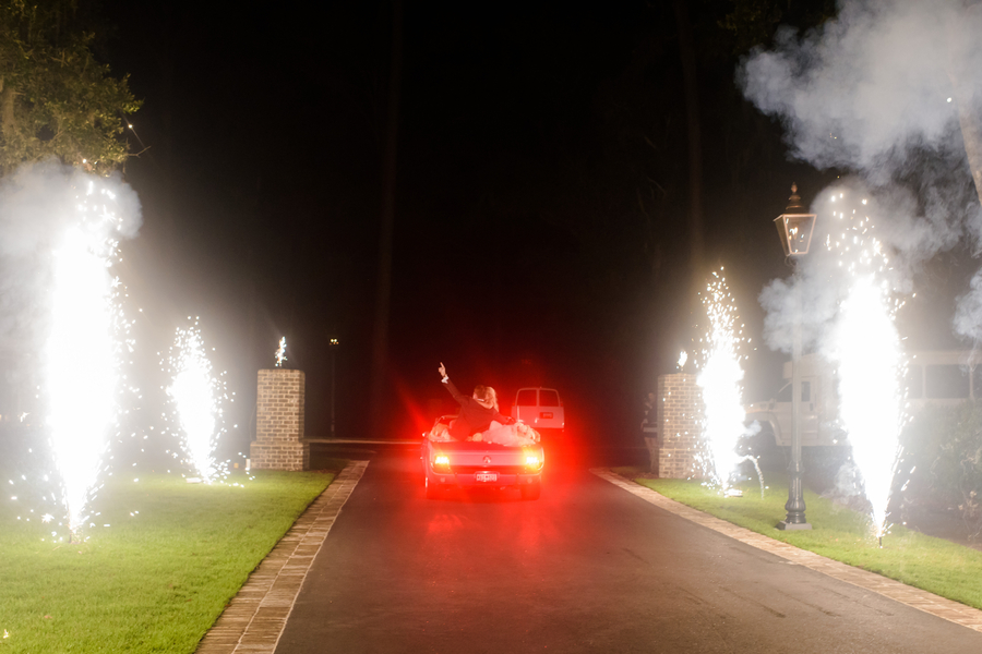 Bride & Groom fireworks exit at Montage Palmetto Bluff  //  Hilton Head Island wedding photos by Donna Von Bruening  //  A Lowcountry Wedding Magazine & Blog