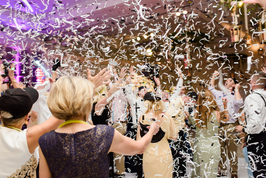 Confetti toss on the dance floor at Palmetto Bluff //  Hilton Head Island wedding photos by Donna Von Bruening  //  A Lowcountry Wedding Magazine & Blog