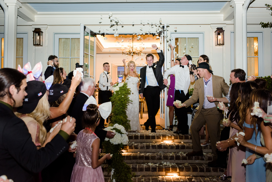 Rose petal exit at Montage Palmetto Bluff wedding  //  Hilton Head Island wedding photos by Donna Von Bruening  //  A Lowcountry Wedding Magazine & Blog