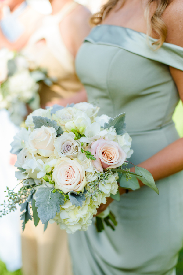 Spring bouquet with white hydrangeas, dusty miller light purple and peach roses by Todd Events  //  Hilton Head Island wedding photos by Donna Von Bruening  //  A Lowcountry Wedding Magazine & Blog