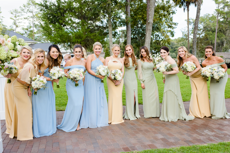Bridal party in light blue, neutral and sage green dresses  //  Hilton Head Island wedding photos by Donna Von Bruening  //  A Lowcountry Wedding Magazine & Blog