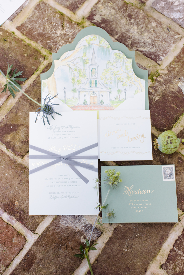 Custom Palmetto Bluff Stationery from Color Box Design & Letterpress  //  Hilton Head Island wedding photos by Donna Von Bruening  //  A Lowcountry Wedding Magazine & Blog