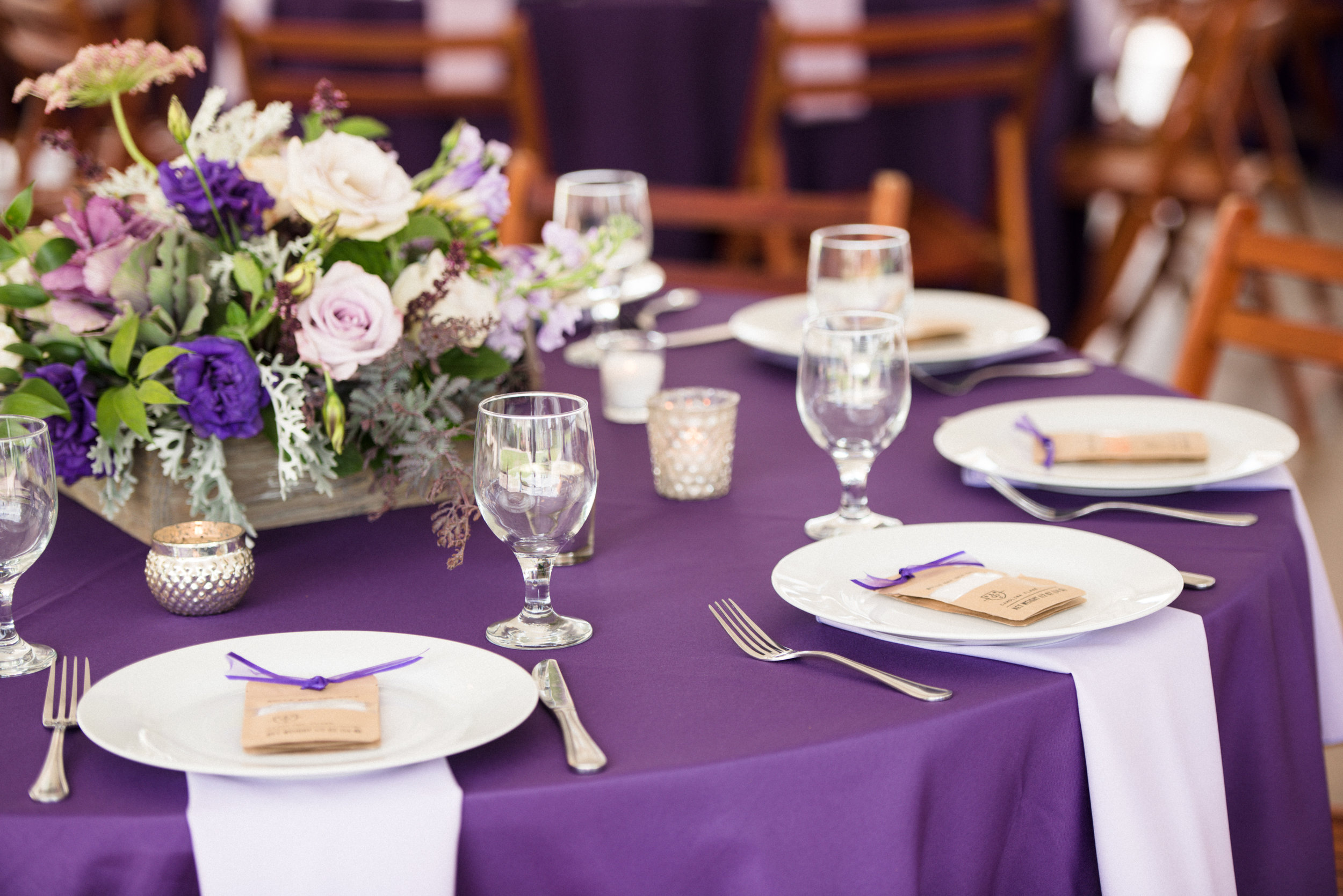 Organic lavender centerpieces at The Island House  Outdoor wedding ceremony at The Island House on Johns Island SC  //  Charleston wedding florist On A Limb Floral Studio