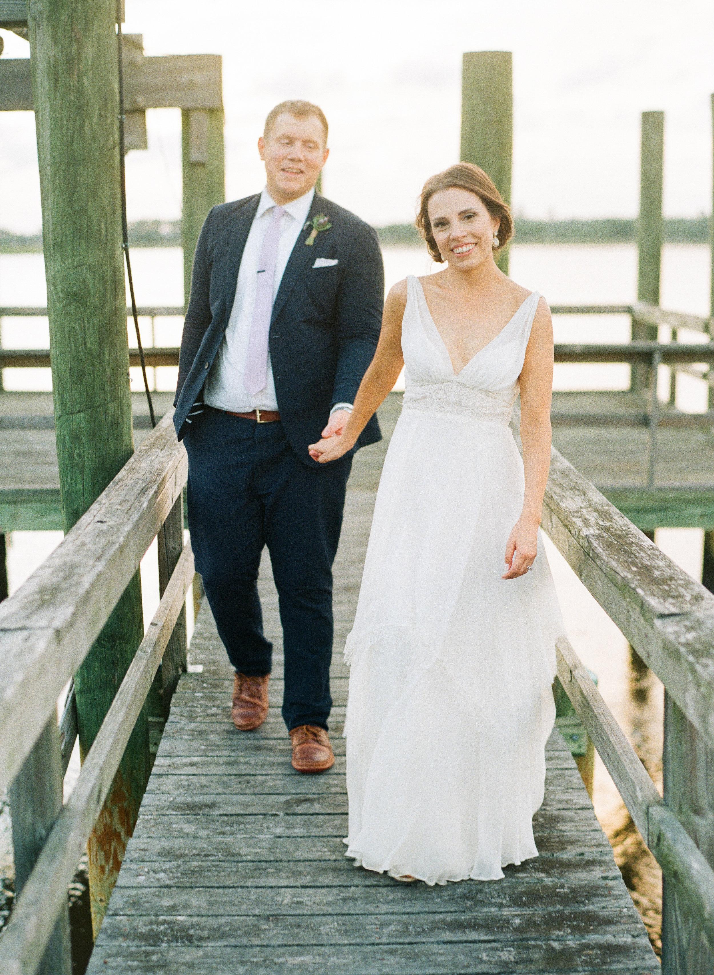 Wedding portraits on the dock at The Island House on Johns Island SC  //  Charleston wedding photos by Lauren Jonas Photography