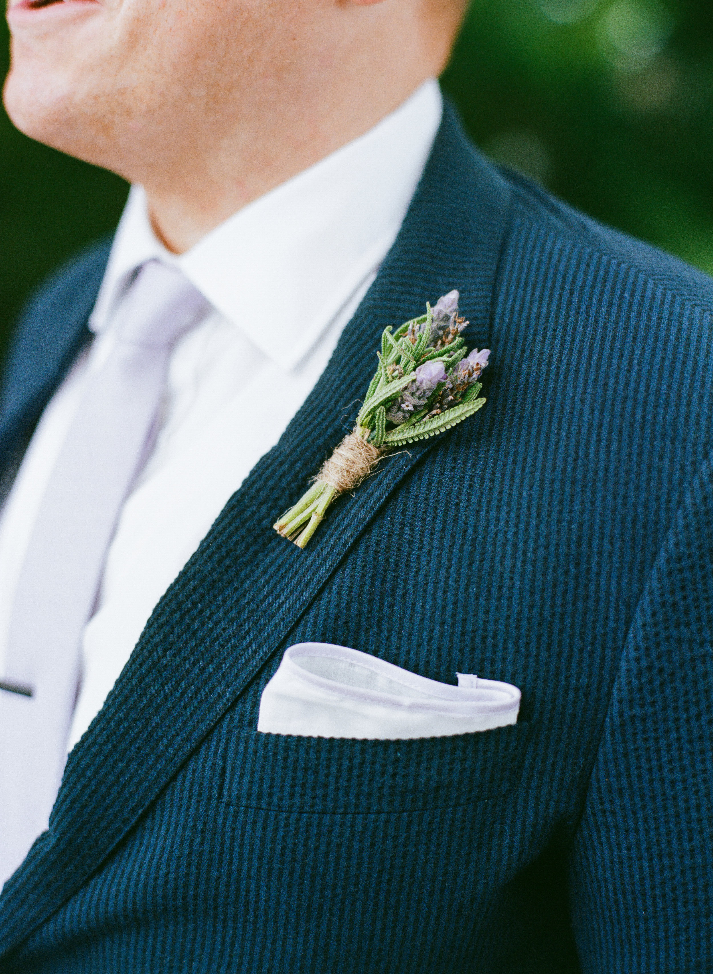 Lavender boutonnieres for wedding in Charleston SC by On A Limb Floral Studio