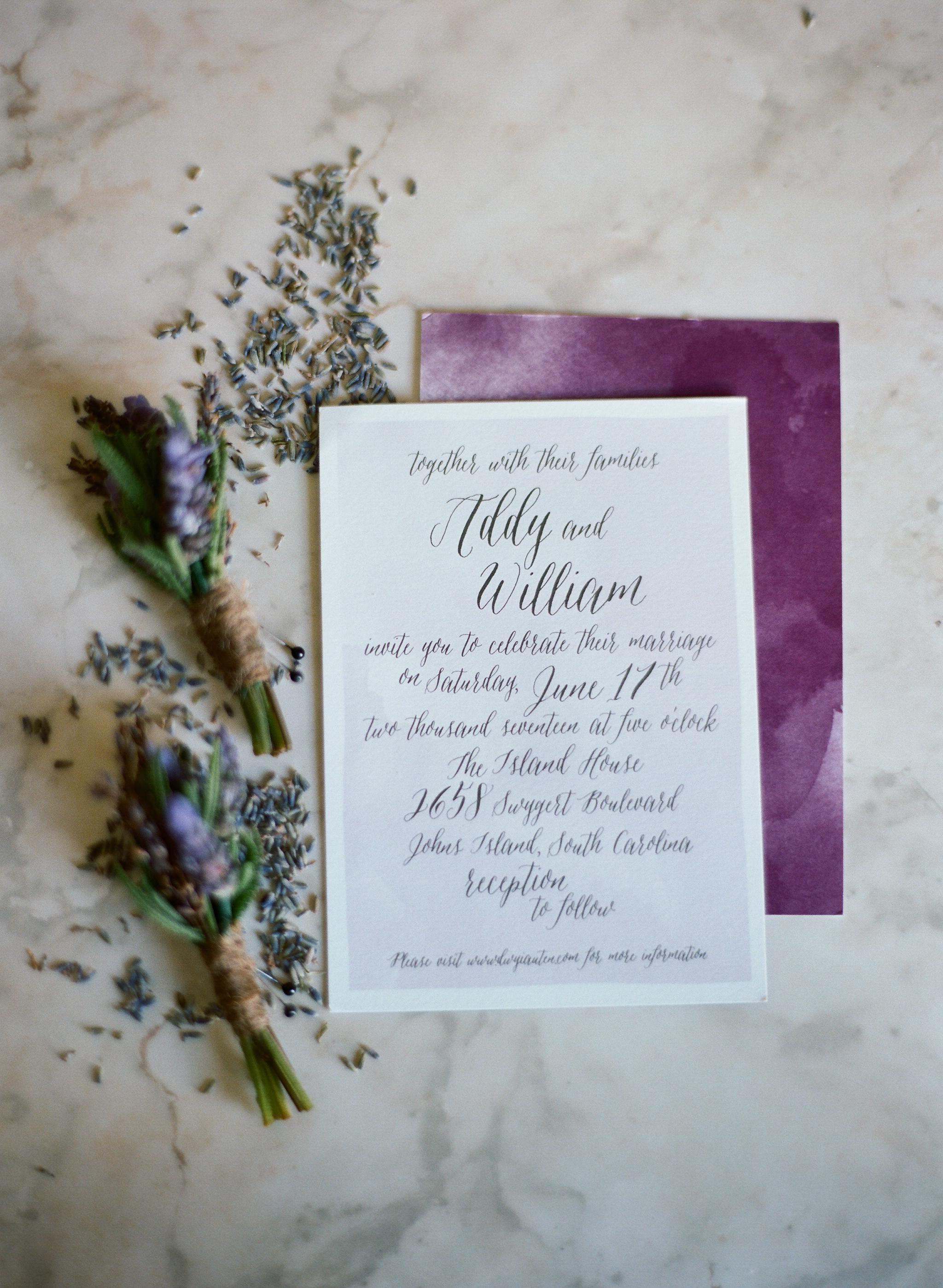 Purple wedding invitations  //  Charleston SC photographer Lauren Jonas