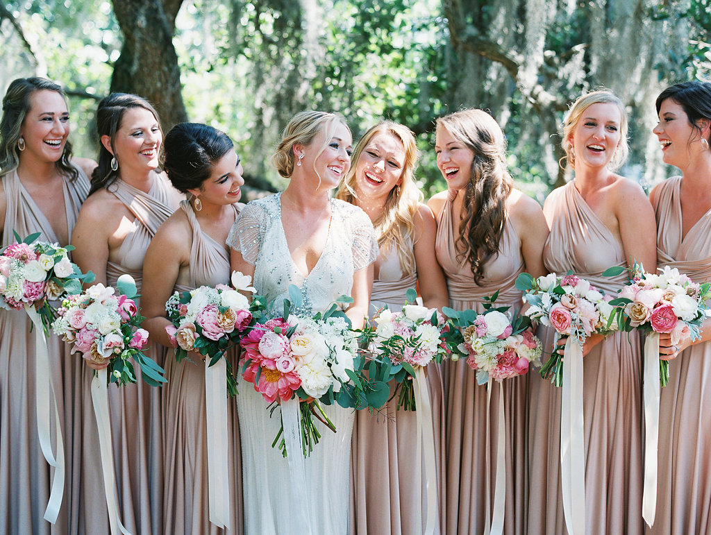 Hilton Head Bride wearing a Jenny Packham gown and bridesmaids wearing  rosewater Twobirds convertible gowns - A Lowcountry Wedding Magazine