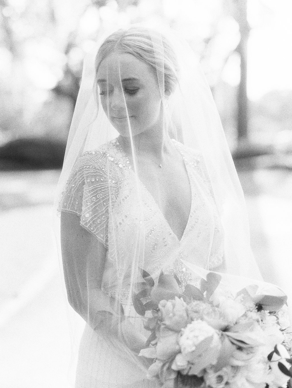 Black and white bridal portraits for Hilton Head SC wedding  //  A Lowcountry Wedding Magazine