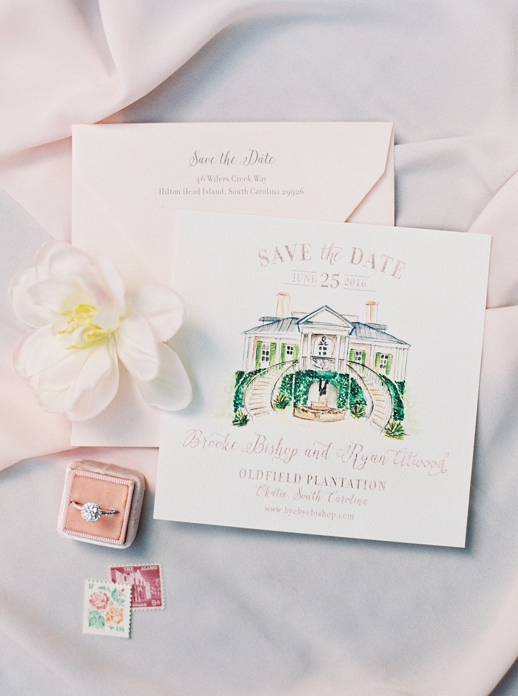 Custom watercolor save the dates for Oldfield Club wedding  //  A Lowcountry Wedding Magazine